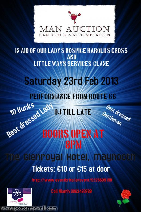 Man Auction Fundraising Event, Glenroyal Hotel, February 2013